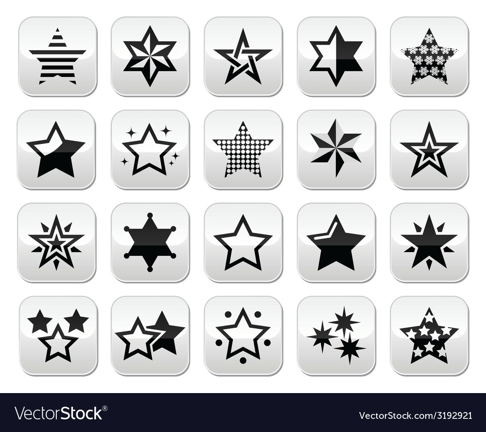 Stars black buttons with reflection isolated on wh vector | Price: 1 Credit (USD $1)