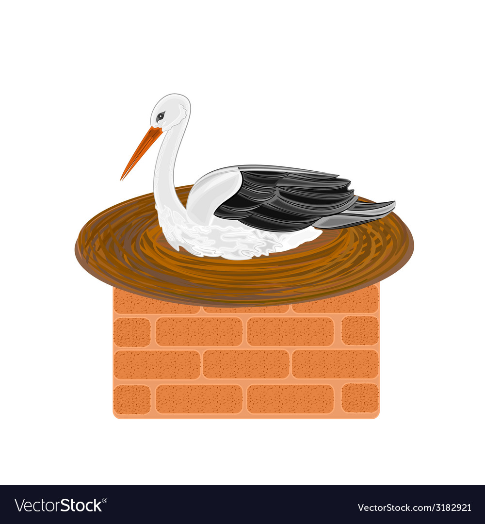 Stork-and-nest-on-a-chimney vector | Price: 1 Credit (USD $1)