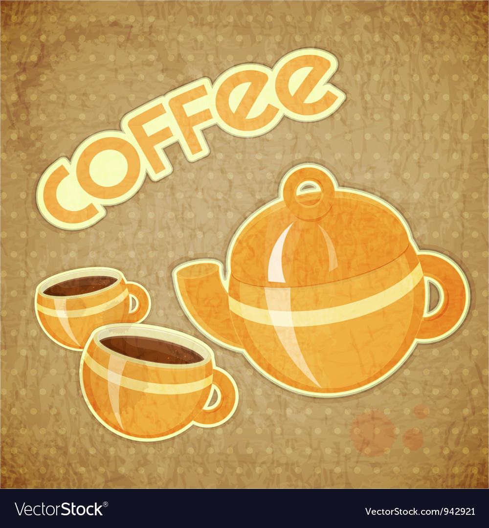 Two coffee cups and coffee pot vector | Price: 1 Credit (USD $1)