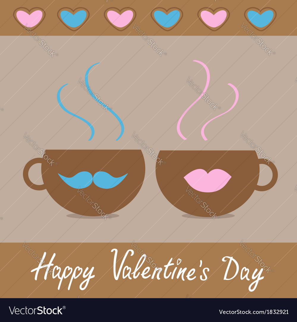 Two teacups with mustache and lips and hearts vector | Price: 1 Credit (USD $1)