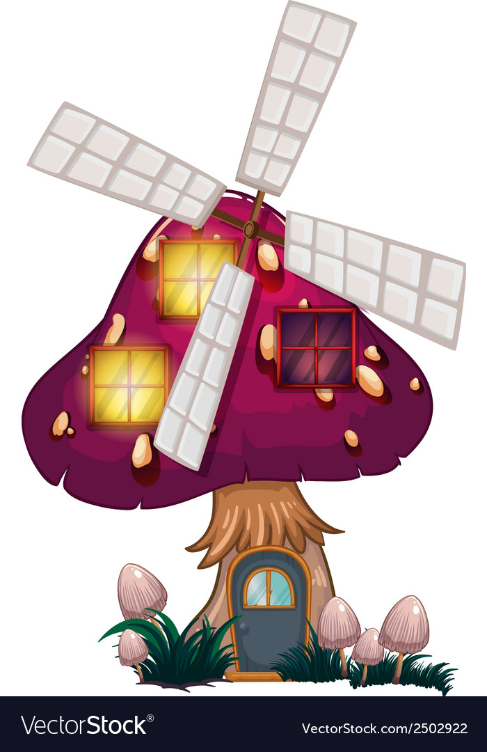 A big mushroom house with a windmill vector | Price: 1 Credit (USD $1)