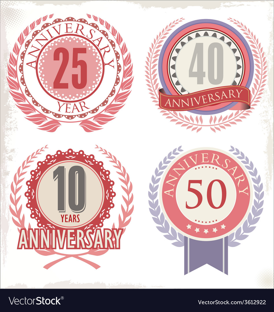 Anniversary retro labels vector | Price: 1 Credit (USD $1)