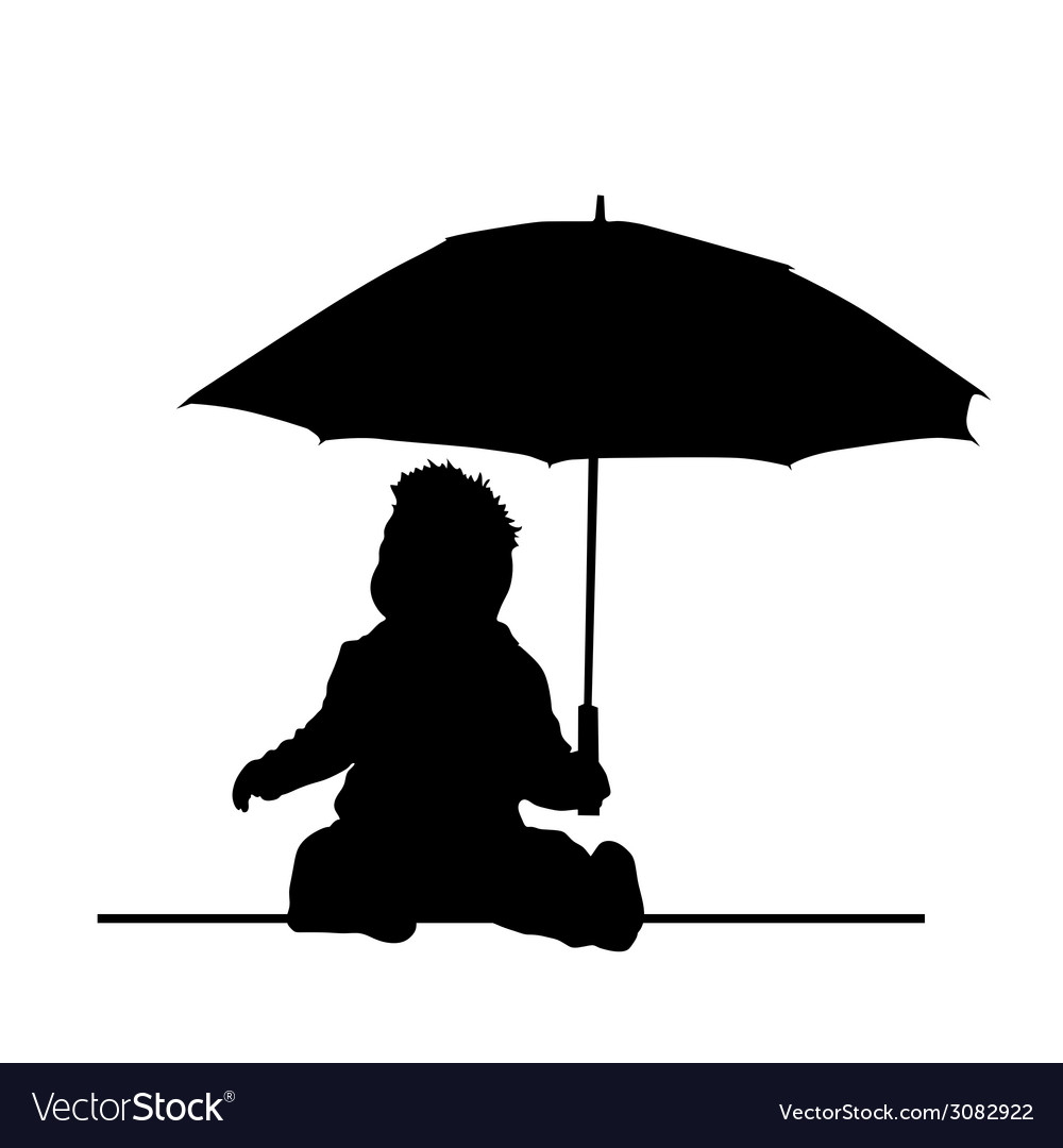Baby holding umbrella silhouette vector | Price: 1 Credit (USD $1)