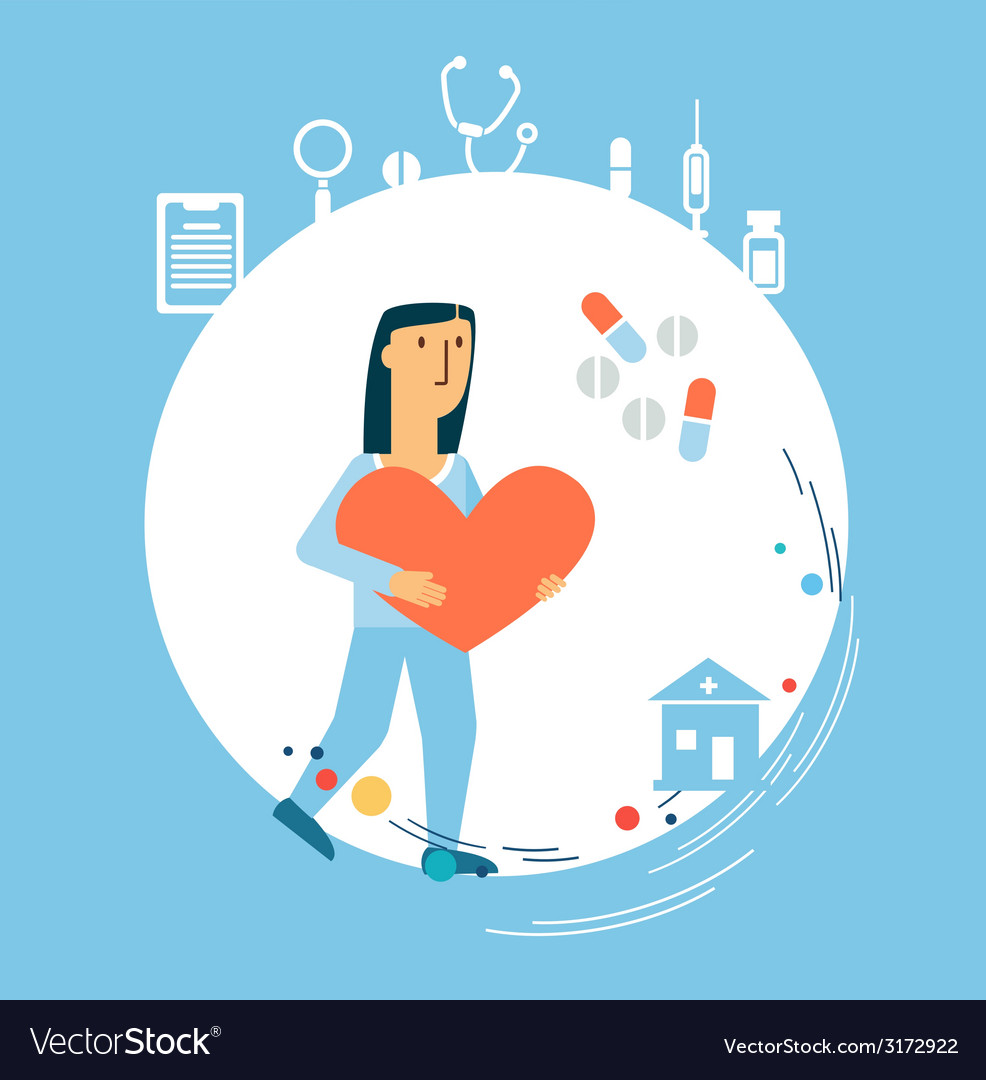 Doctor holding a heart in his hands vector | Price: 1 Credit (USD $1)