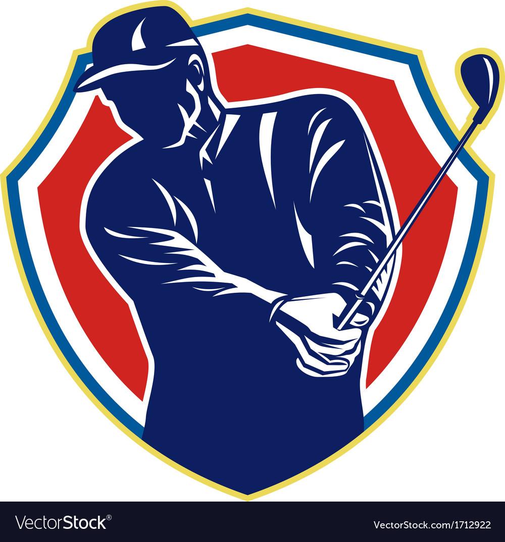 Golfer swing club playing golf retro vector | Price: 1 Credit (USD $1)