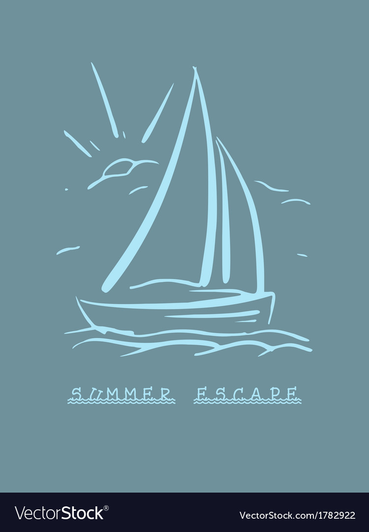 Hand drawn background with sailboat eps8 vector | Price: 1 Credit (USD $1)