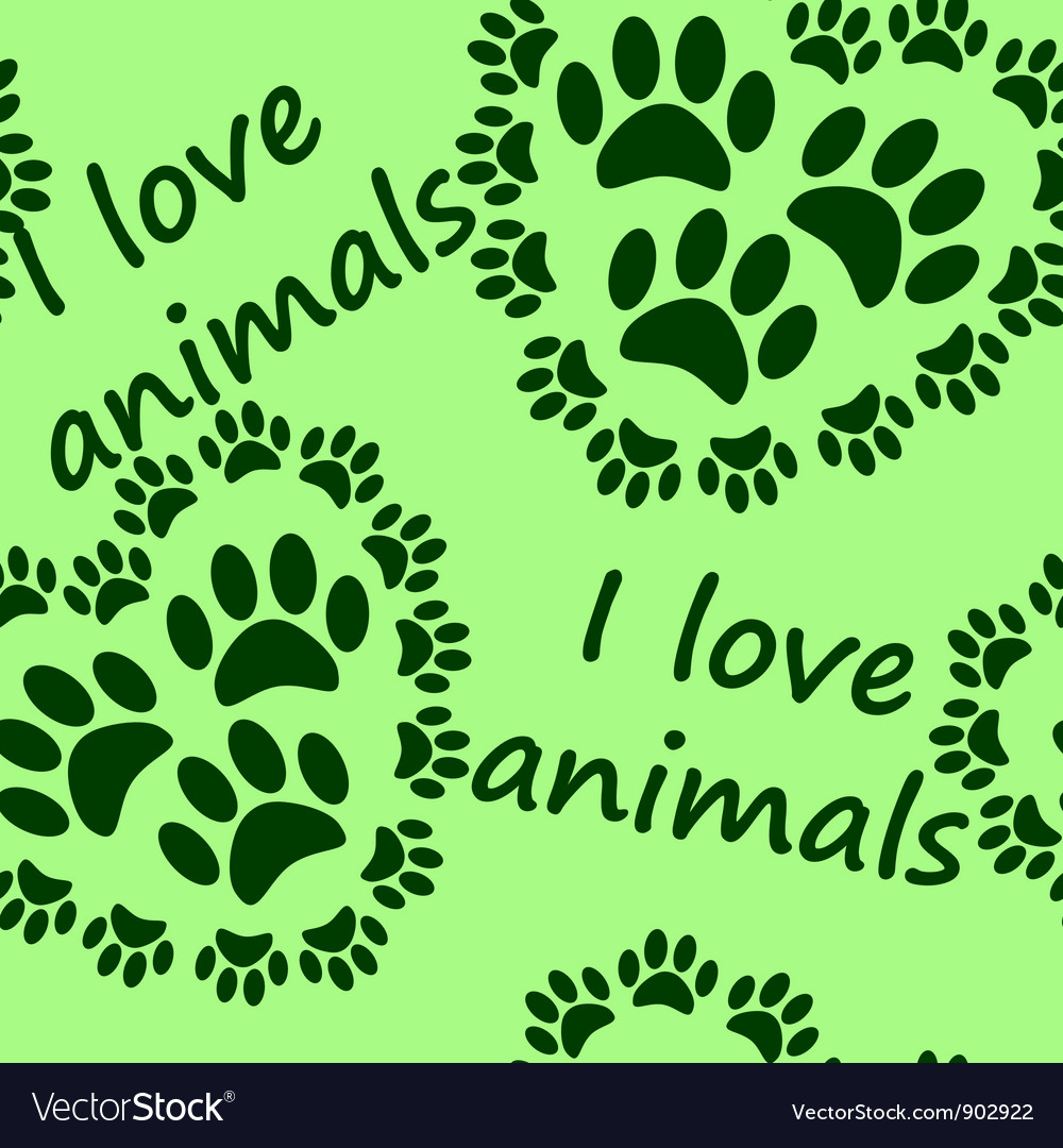 I love animals seamless pattern vector | Price: 1 Credit (USD $1)