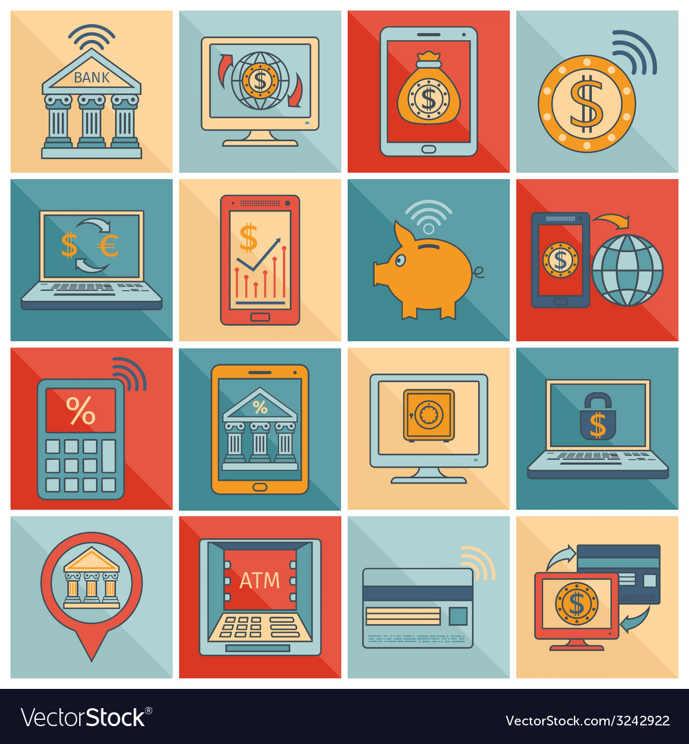 Mobile banking icons flat line vector   Price: 1 Credit (USD $1)