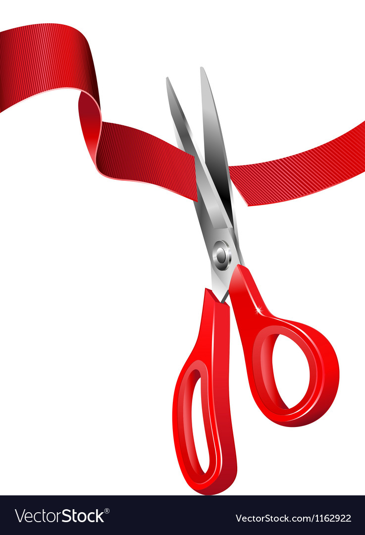 Scissors cutting the red ribbon vector | Price: 1 Credit (USD $1)