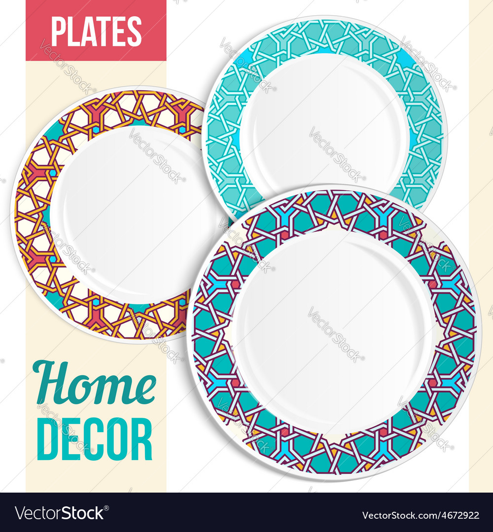 Set of decorative plates vector | Price: 1 Credit (USD $1)