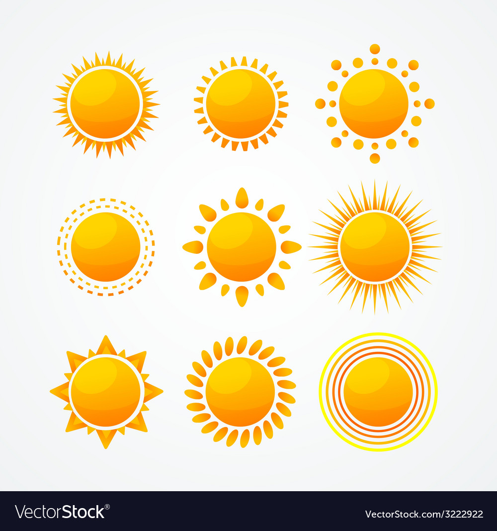 Set of glossy sun icon set vector | Price: 1 Credit (USD $1)