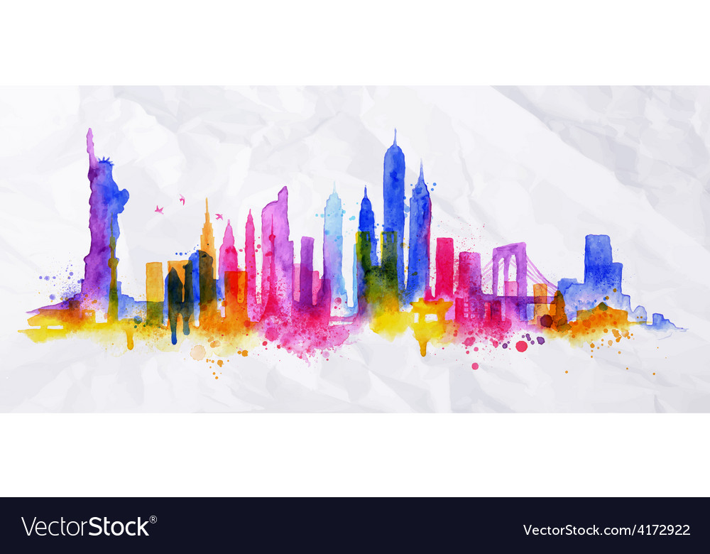 Silhouette overlay city new york vector | Price: 3 Credit (USD $3)