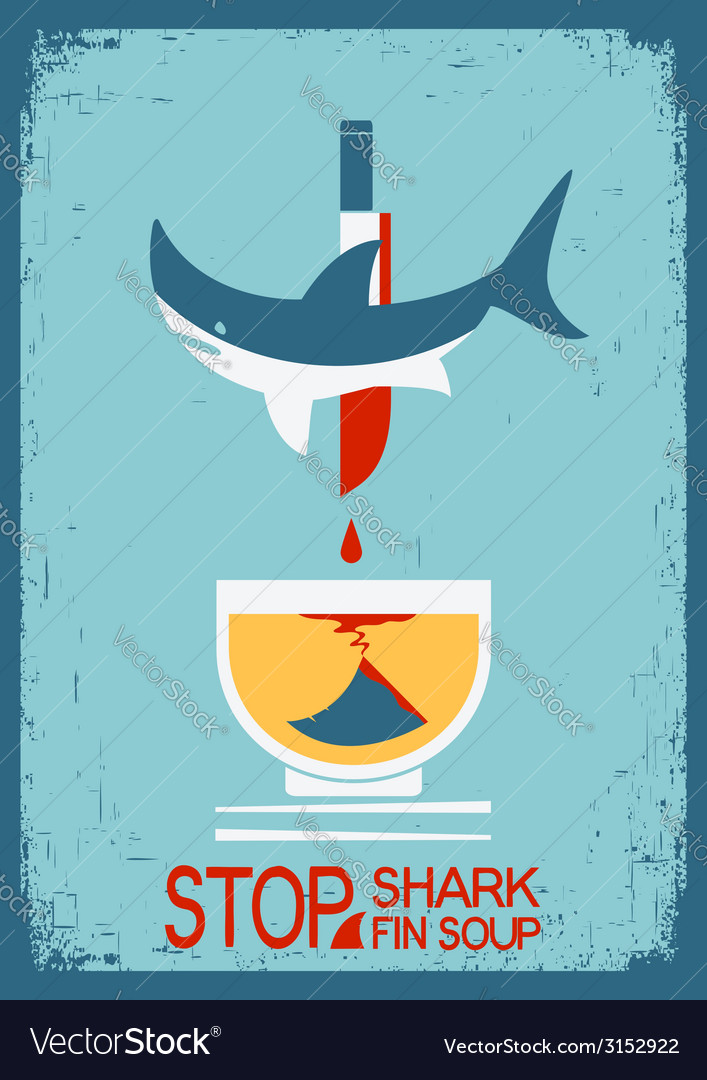 Stop fin soup poster on old paper texture vector | Price: 1 Credit (USD $1)