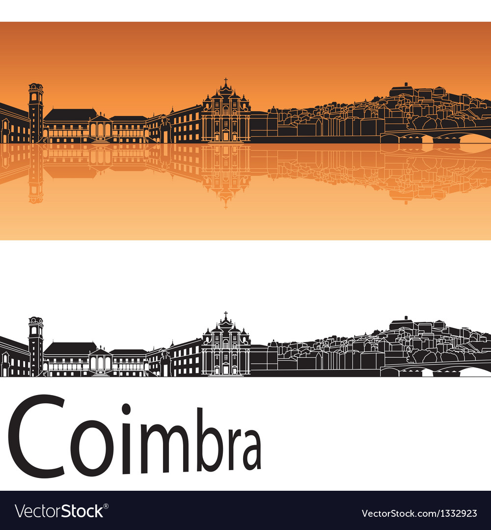 Coimbra skyline in orange background vector | Price: 1 Credit (USD $1)
