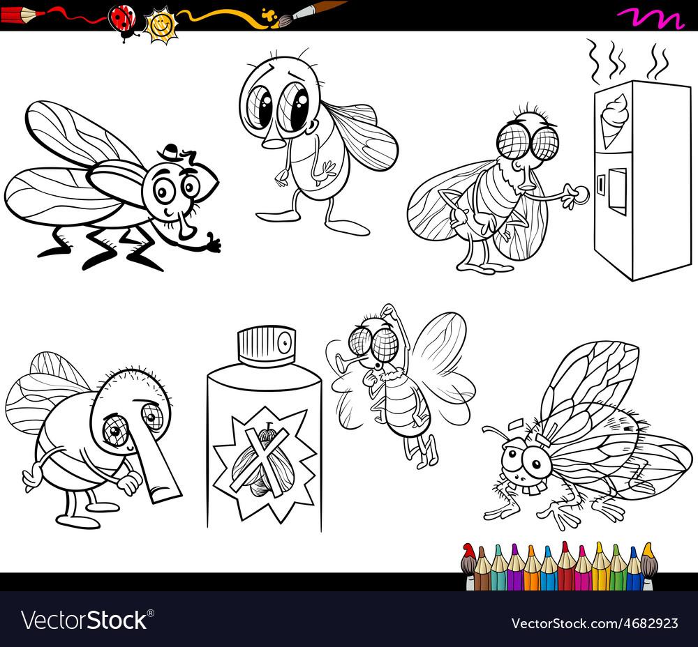 Flies set cartoon coloring page vector