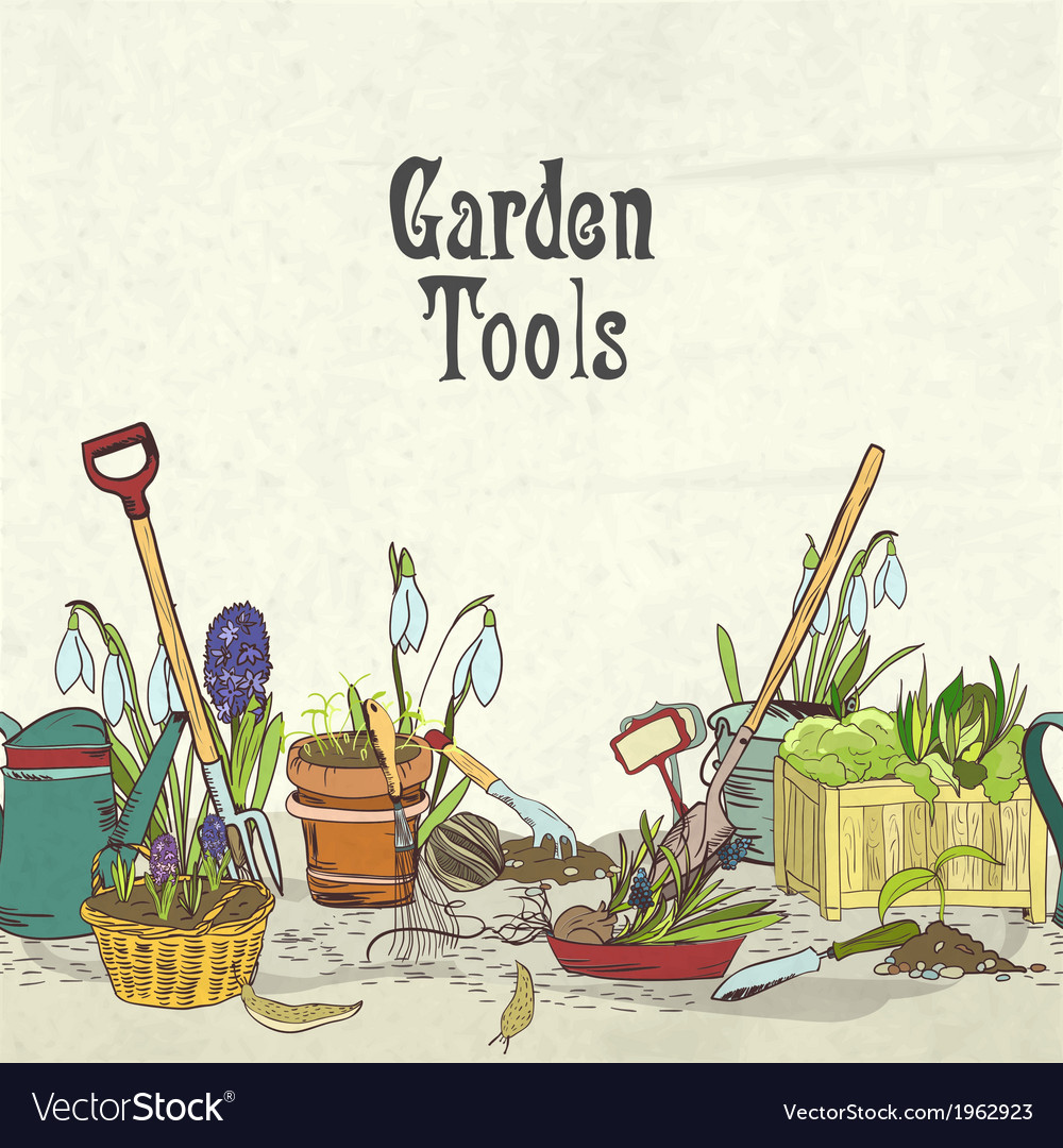 Hand drawn gardening tools album cover vector | Price: 1 Credit (USD $1)