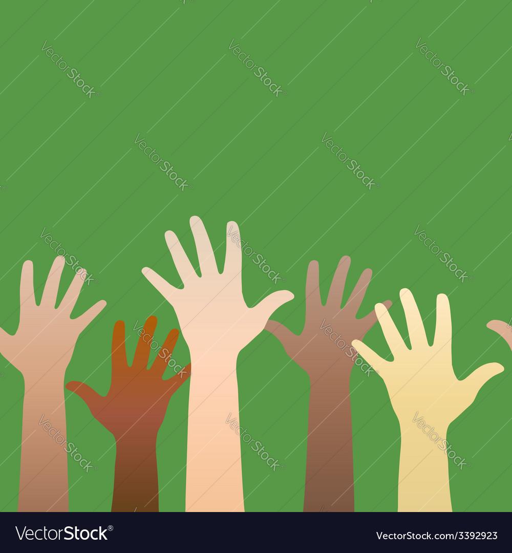 Hands raised up concept of volunteerism vector | Price: 1 Credit (USD $1)