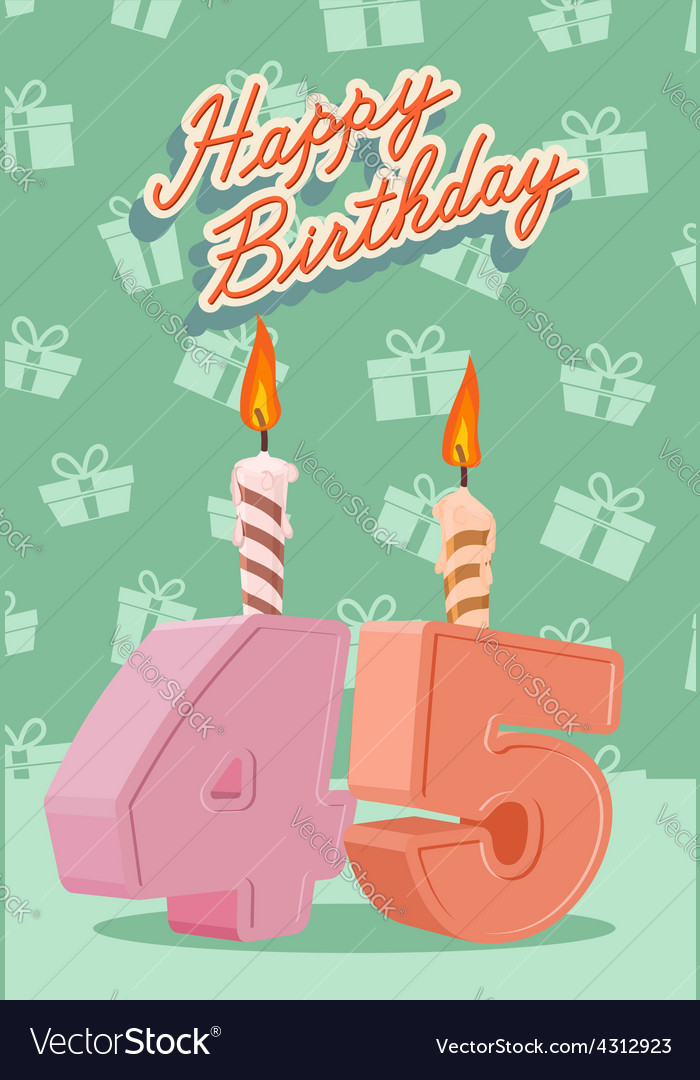 Happy birthday age 45 announcement and celebration vector | Price: 1 Credit (USD $1)