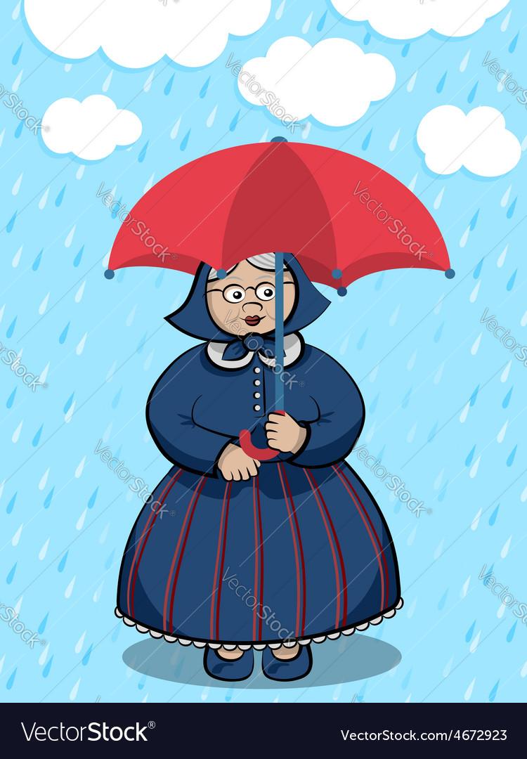 Lady under the rain vector | Price: 1 Credit (USD $1)