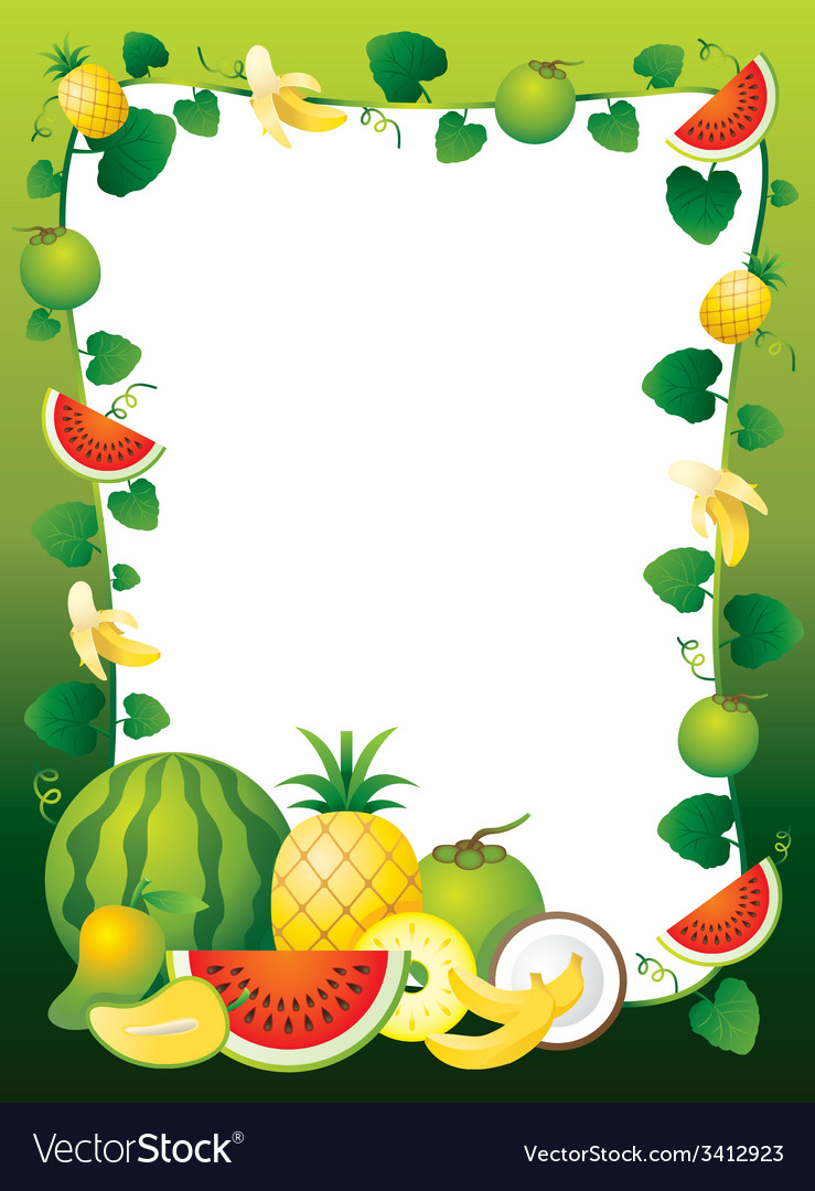 Mixed fruits border frame vector | Price: 1 Credit (USD $1)