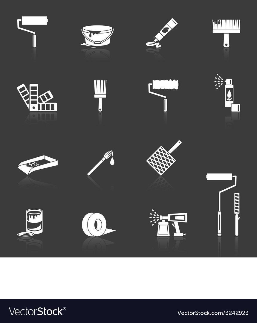 Painting icons white vector | Price: 1 Credit (USD $1)