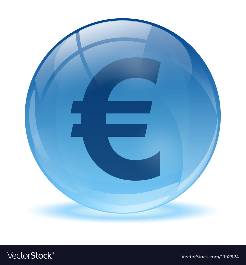 3d glass sphere and euro icon vector | Price: 1 Credit (USD $1)