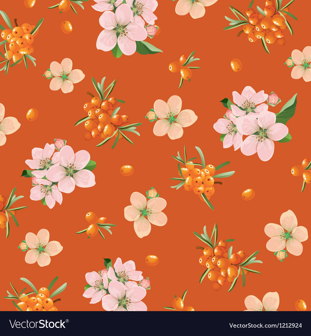 Background of sea buckthorn and flowers vector | Price: 1 Credit (USD $1)