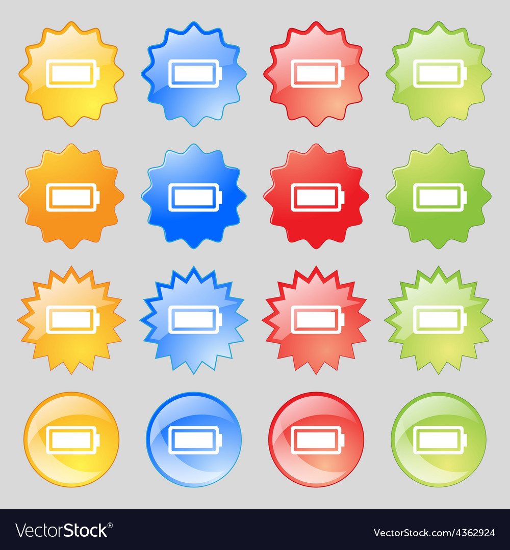 Battery fully charged icon sign big set of 16 vector | Price: 1 Credit (USD $1)