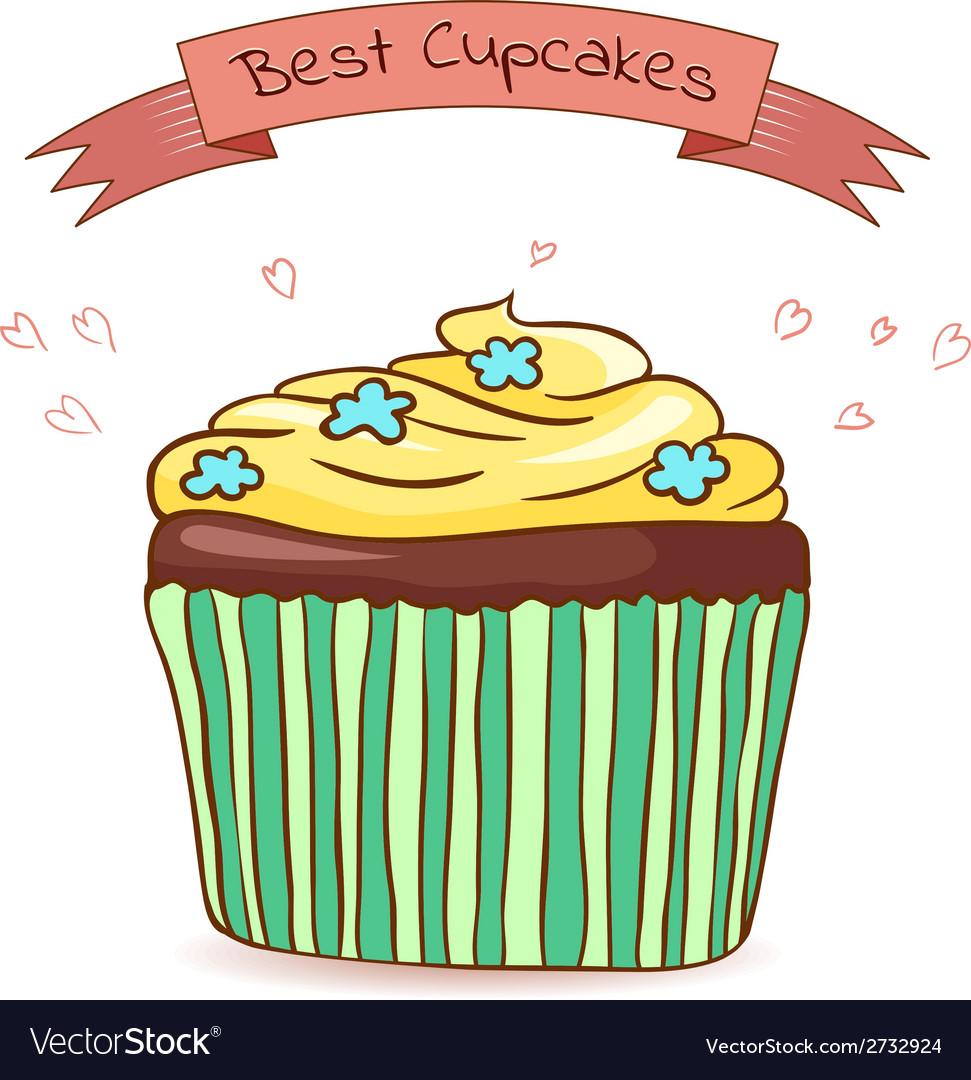 Beautiful card best cupcakes vector | Price: 1 Credit (USD $1)