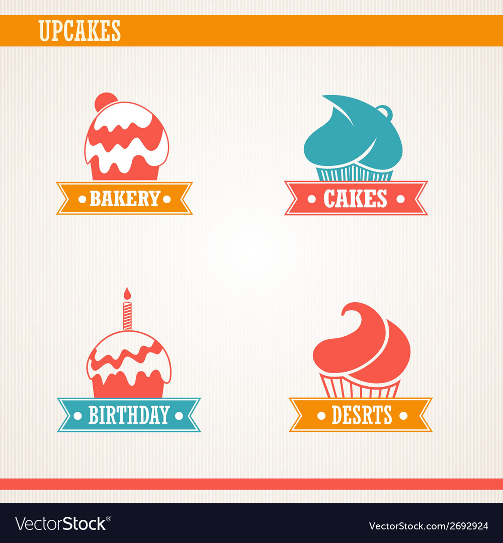 Cupcakes set vector | Price: 1 Credit (USD $1)