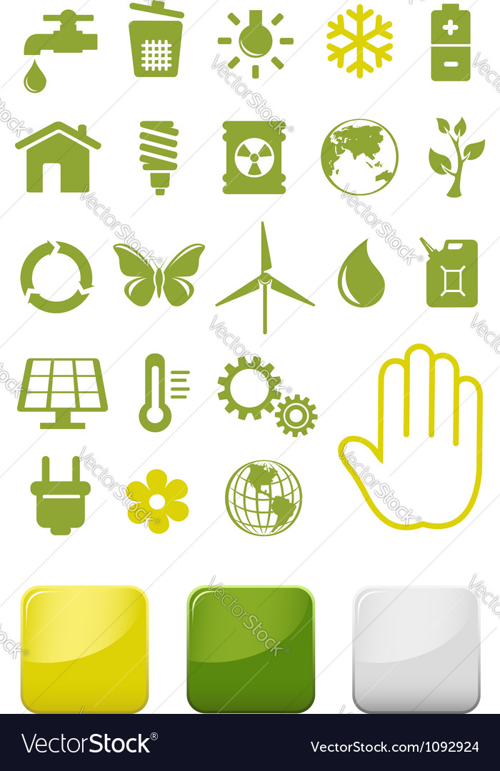 Environment and ecology icons set vector | Price: 1 Credit (USD $1)