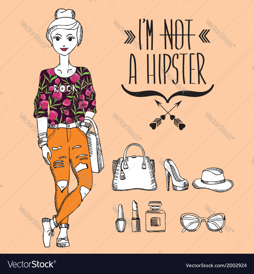 Hipster girl fashion geek character vector   Price: 1 Credit (USD $1)