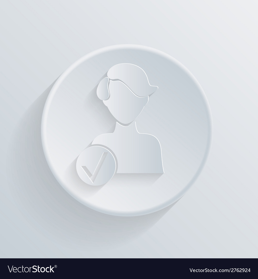 Paper circle flat icon add friend vector | Price: 1 Credit (USD $1)