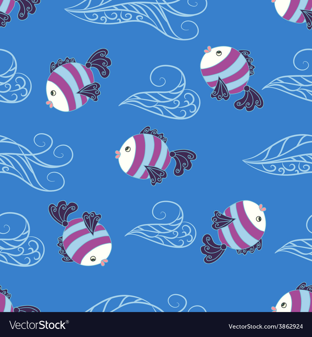 Seamless pattern with cute fish vector | Price: 1 Credit (USD $1)