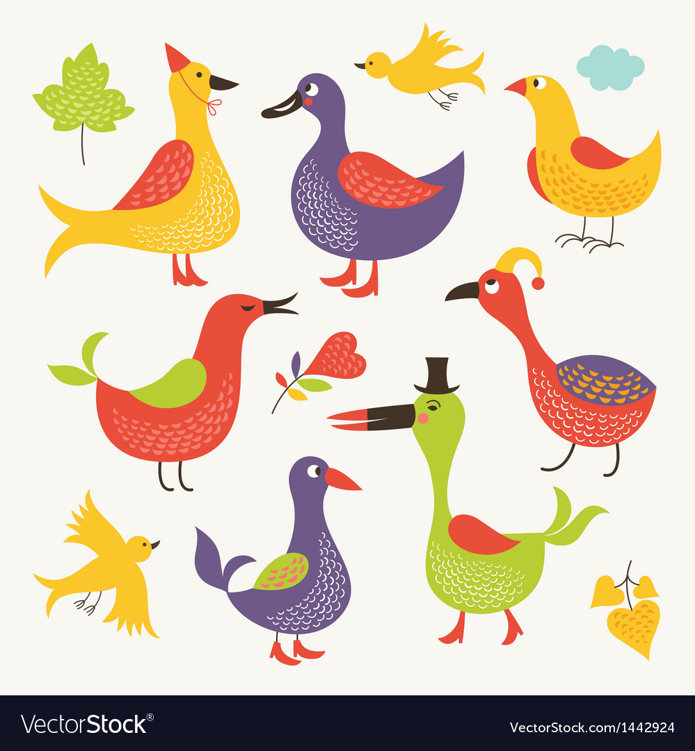 Set of a whimsical birds vector | Price: 3 Credit (USD $3)