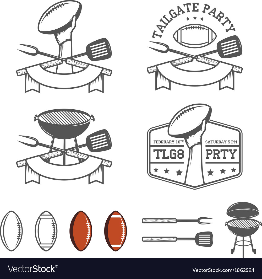 Tailgate party design elements set vector