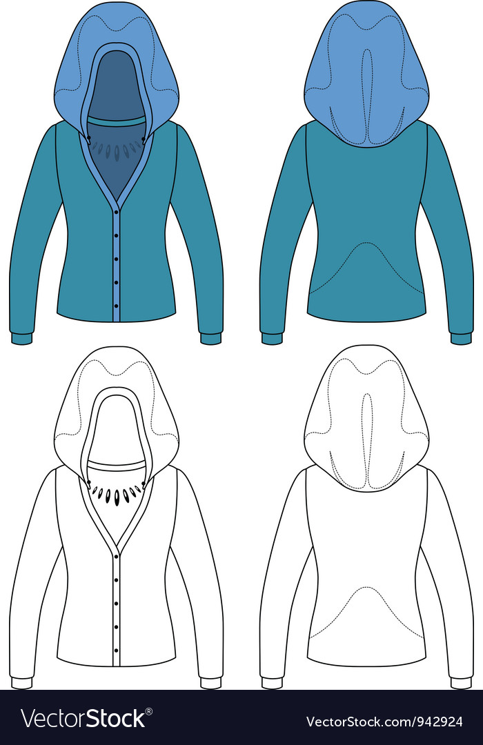 Template outline of hooded jacket vector | Price: 1 Credit (USD $1)