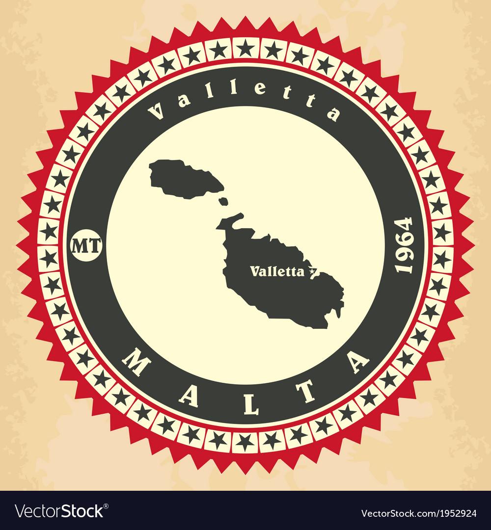 Vintage label-sticker cards of malta vector | Price: 1 Credit (USD $1)