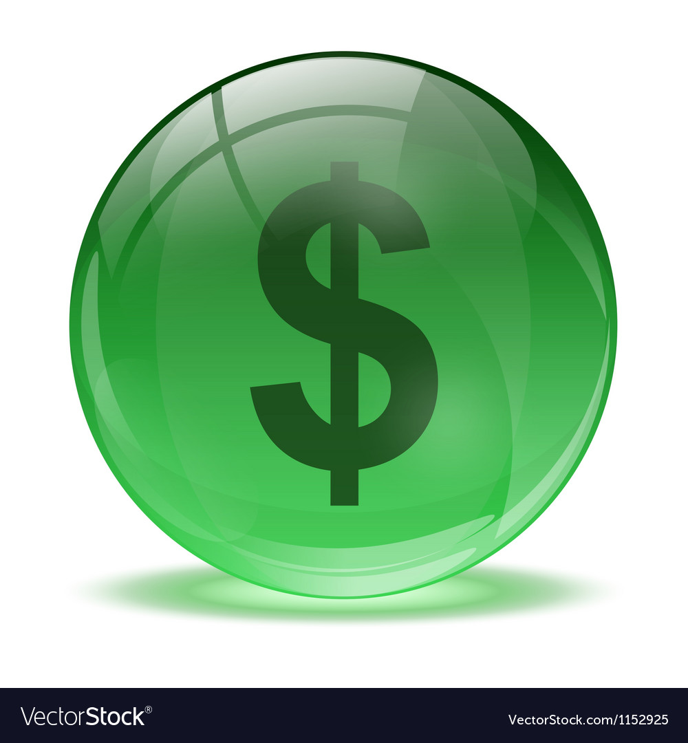 3d glass sphere and green dollar icon vector | Price: 1 Credit (USD $1)
