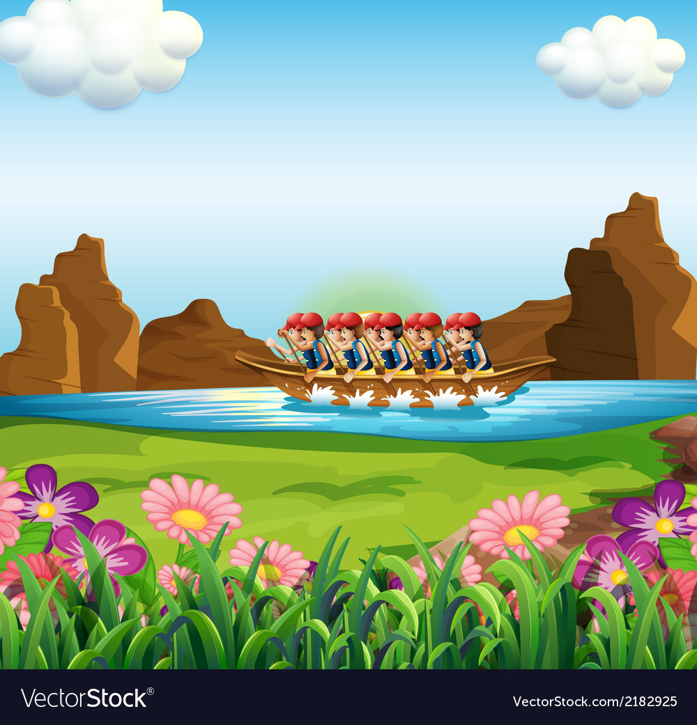 A group of men boating vector | Price: 3 Credit (USD $3)