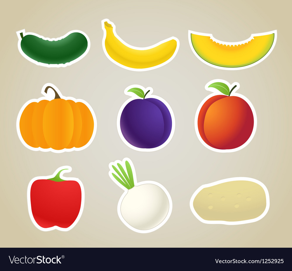 Fruit and vegetables silhouettes collection vector | Price: 1 Credit (USD $1)