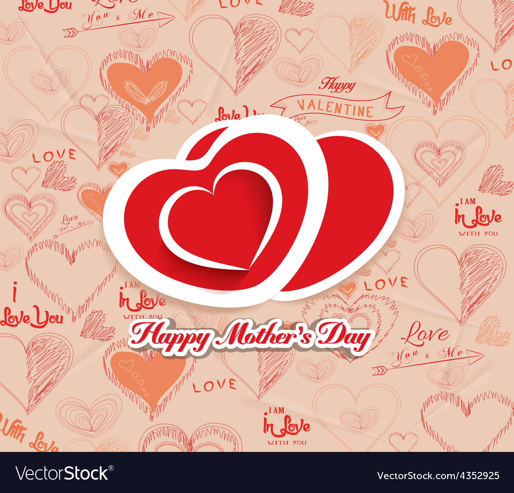 Happy mothers day with hearts i love family vector | Price: 1 Credit (USD $1)