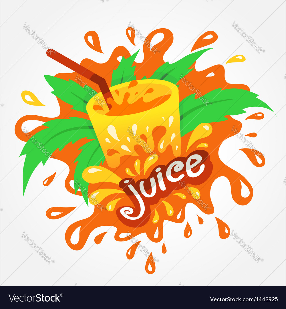 Juice drink beverage splash orange vector | Price: 1 Credit (USD $1)