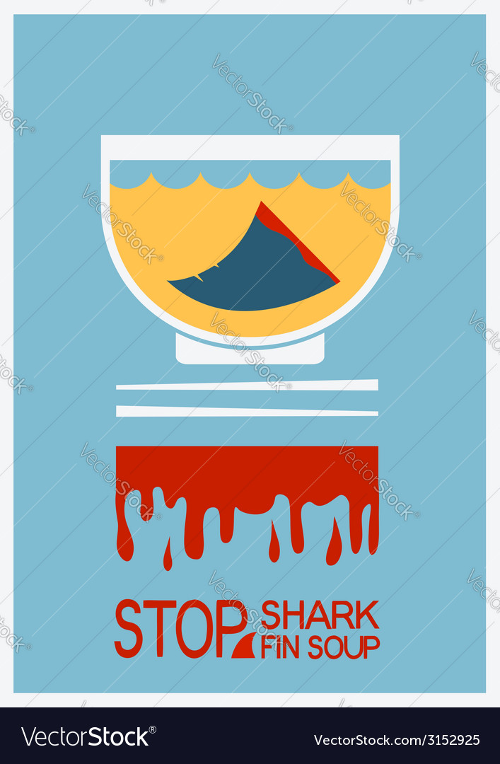 No shark finning soup poster vector | Price: 1 Credit (USD $1)