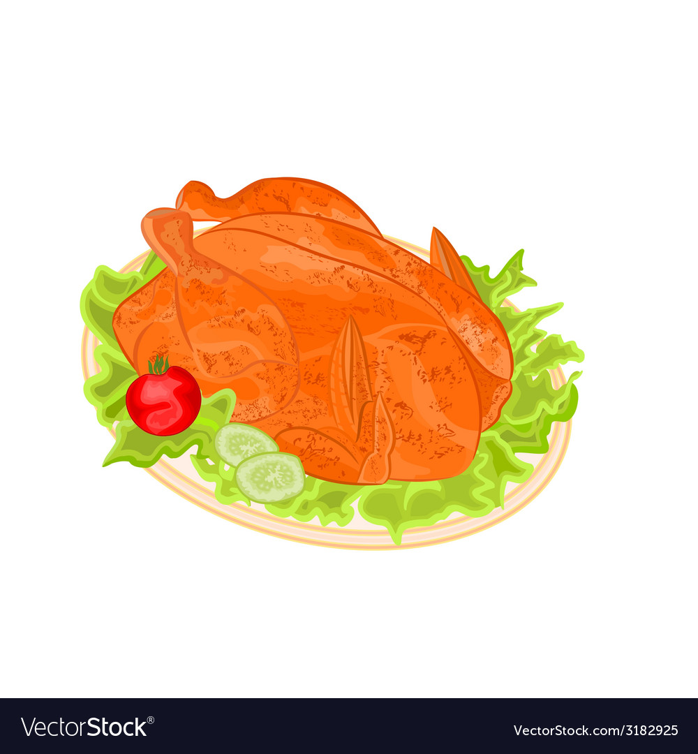 Roasted holiday turkey on platter vector | Price: 1 Credit (USD $1)