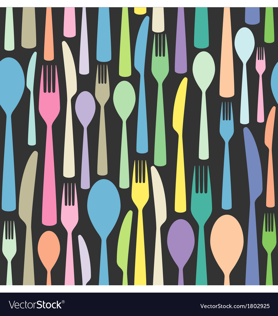 Seamless cutlery wallpaper pattern vector | Price: 1 Credit (USD $1)