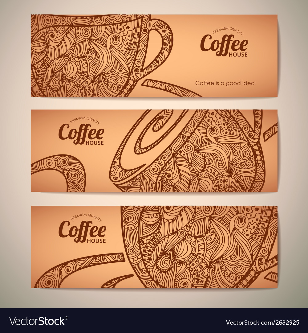 Set of decorative vintage coffee banners vector | Price: 1 Credit (USD $1)