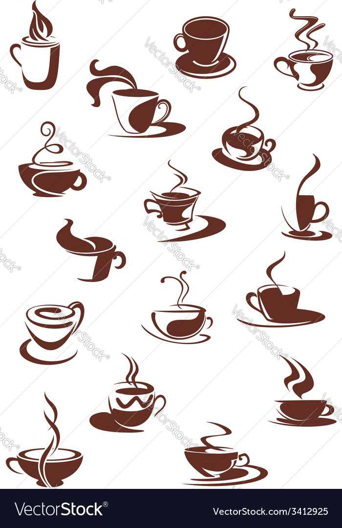 Set of hot coffee sketches vector | Price: 1 Credit (USD $1)