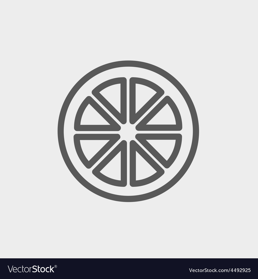Sliced of lemon thin line icon vector