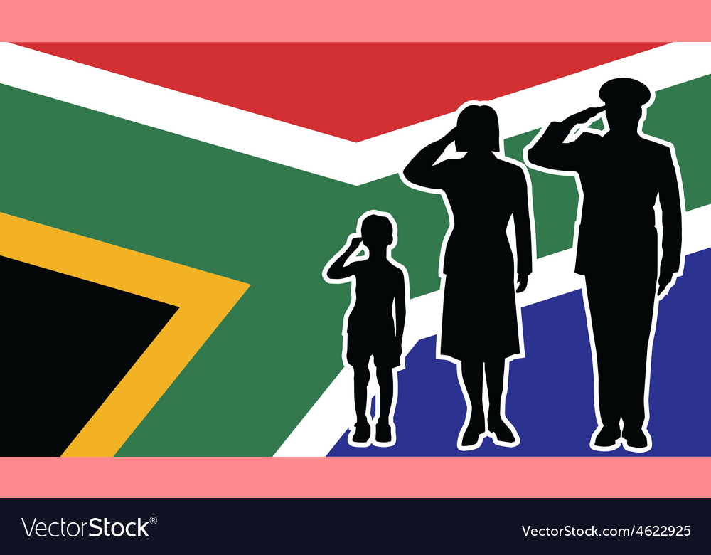South africa soldier family salute vector | Price: 1 Credit (USD $1)